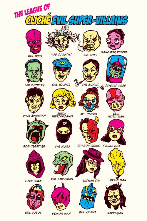 The League of Cliche Evil Super-Villains T-Shirt by Joshua Kemble