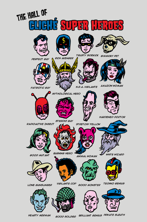 The Hall of Cliche Super Heros T-Shirt by Joshua Kemble