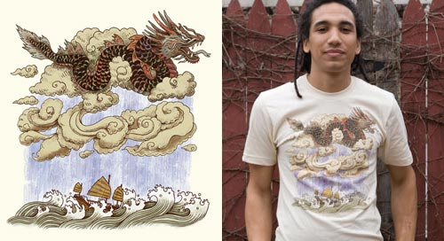 Prevailing Dragon Winds T-Shirt by Terry Fan at Threadless