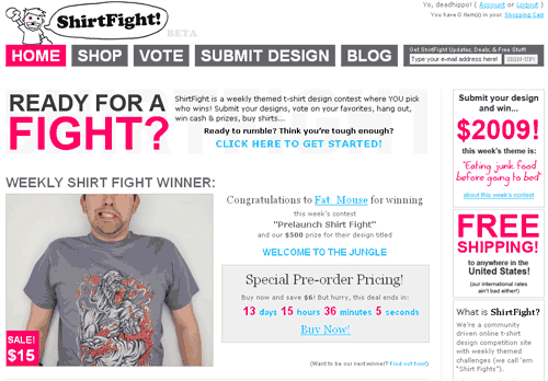 ShirtFight.com Home page and first shirt