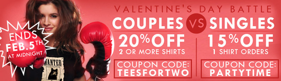Snorg Tees Valentine's Day Battle Coupons