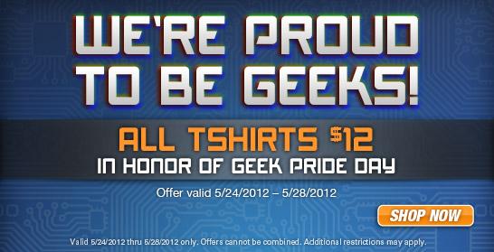 $12 T-Shirts in Tshirt Laundry Geek Pride Sale