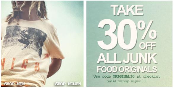 Get 30% off Junk Food Originals!