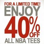 40 percent off NBA Tees at Junk Food