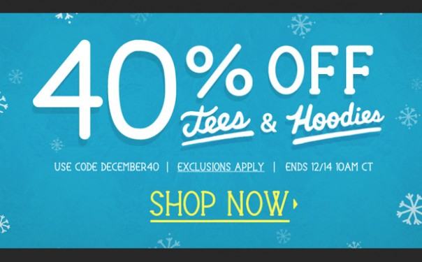 40 percent off at Threadless