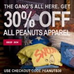 30% off Peanuts Tees at Junk Food