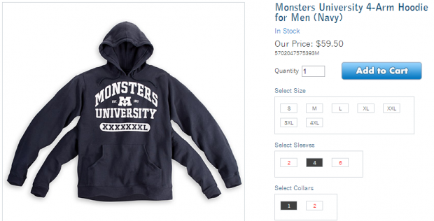 Monsters University 4 Sleeved Hoodie