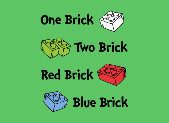 One Brick, Two Brick, Red Brick, Blue Brick