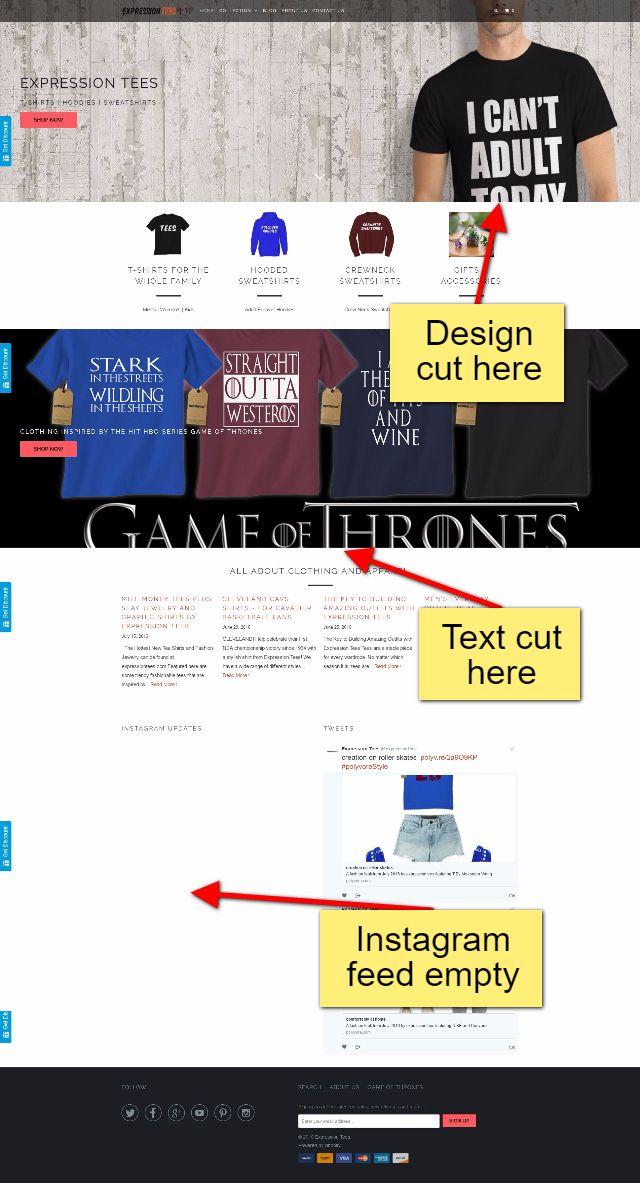 Expression Tees Website Design