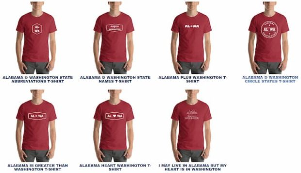 Alabama and Washington T-Shirt Options